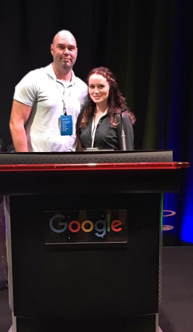 Founders, Matthew Post and Masha Mahdavi, pose for a photo after presenting as top-5 finishers of Google's Mobile Speed Hackathon. (Los Angeles, CA)